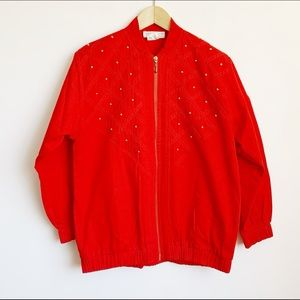 1980s cherry red cotton bomber with gold studs